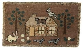 Hooked Rug of Animals & Cabin