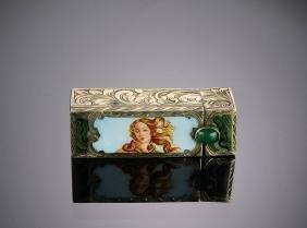 Antique Coin Silver Enameled Lipstick Case