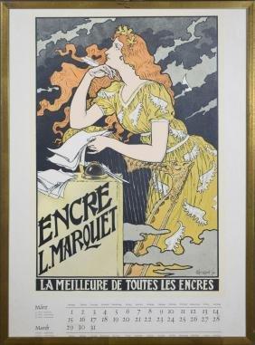 1892 Marquett Ink Advertising Calendar Page