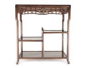 Rosewood Rectangular Table w/ Shelves, 19-20th C.