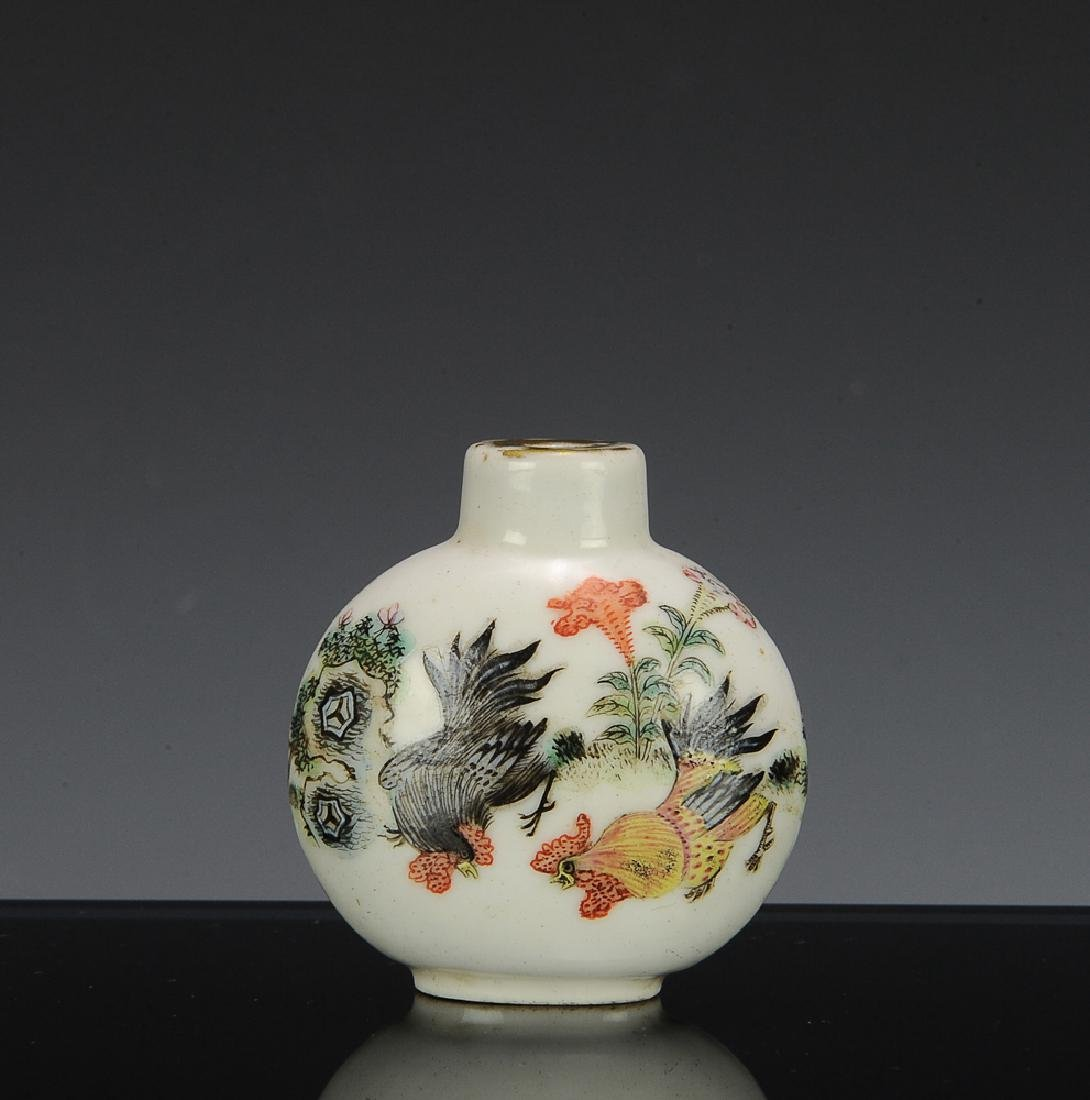 Chinese Famille Rose Rooster Snuff Bottle, 19th C