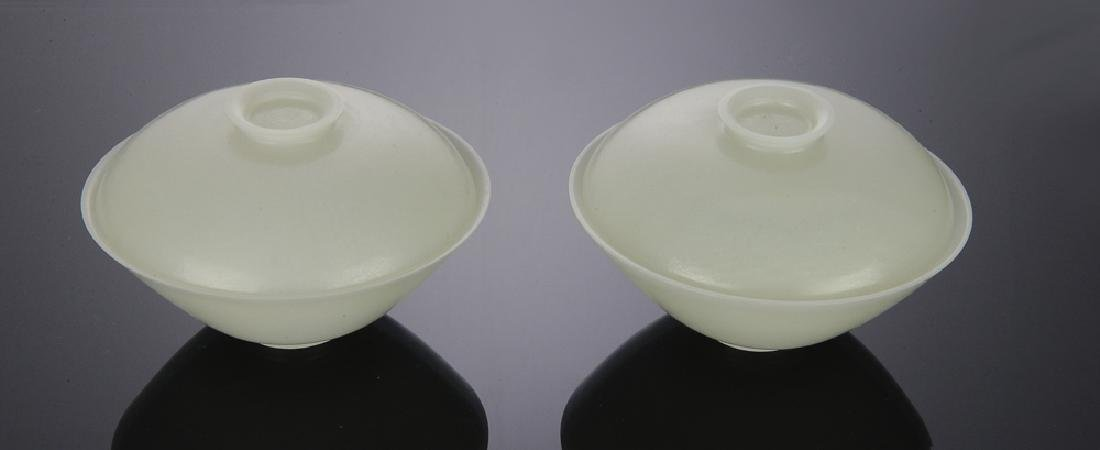 Pair of Chinese White Jade Covered Bowls,  18th C
