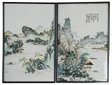Pair of Chinese Porcelain Plaques, Early 20th C