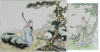 Set of 2 Chinese Porcelain Plaques, Republic