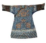 Blue Ground Chinese Dragon Robe, 18th Century