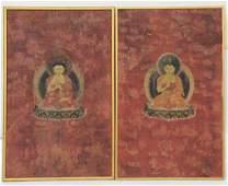 Pair of Thangka w Seated Buddhas 18th Century