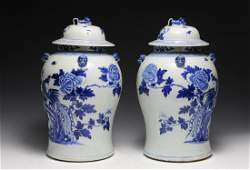 Pair of Chinese Blue  White General Jars 19th C