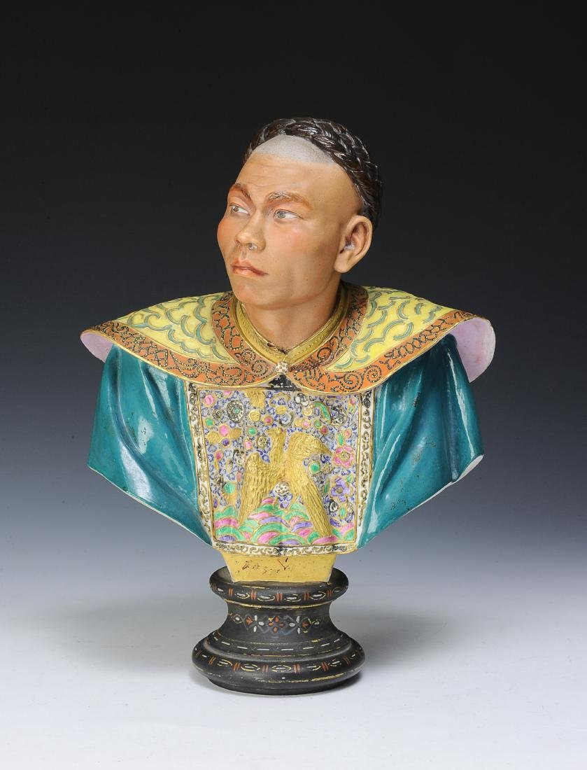 Bisque Bust of Han Chinese Man, European Make