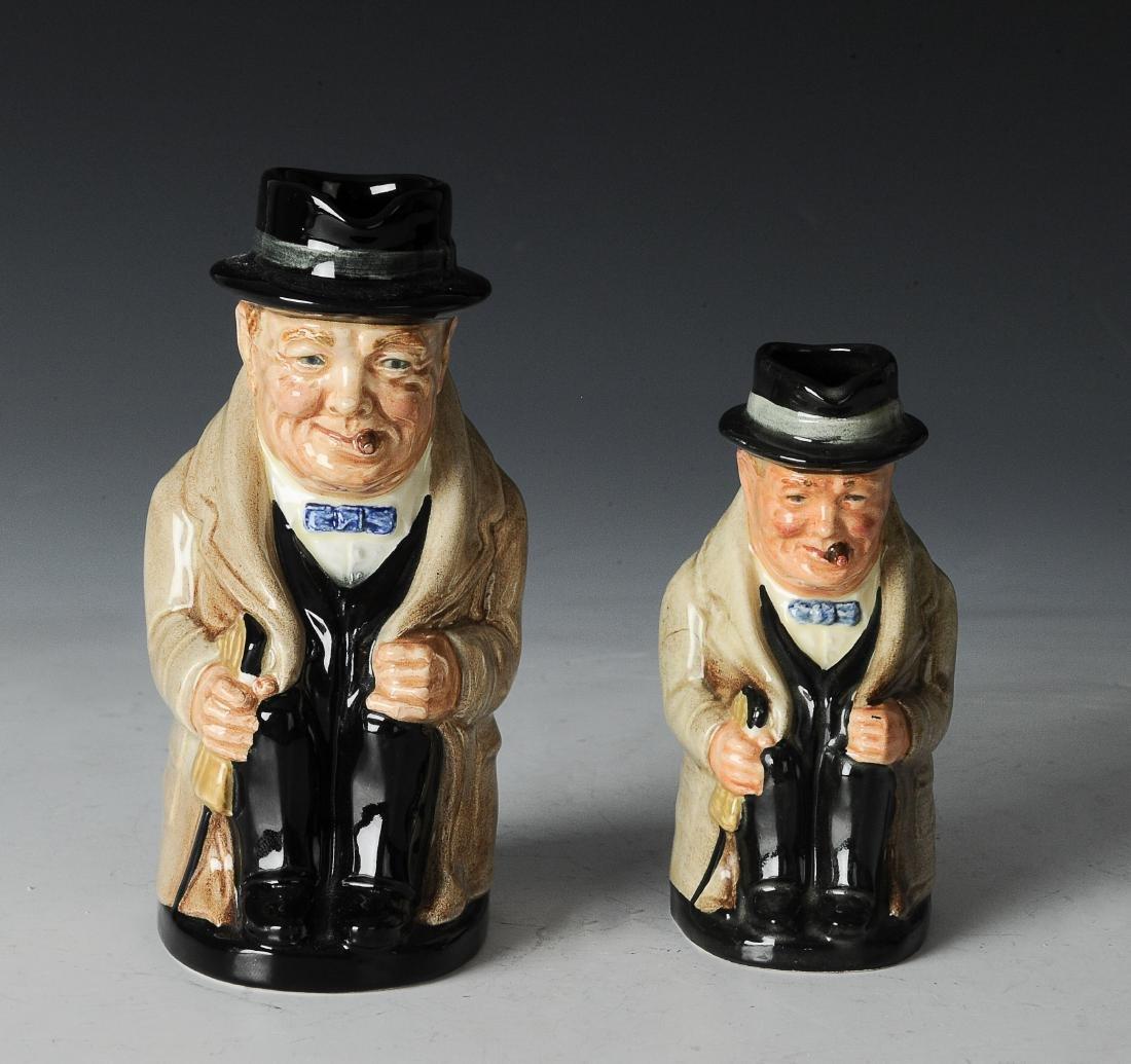 Two Royal Doulton Winston Churchill Toby Jugs