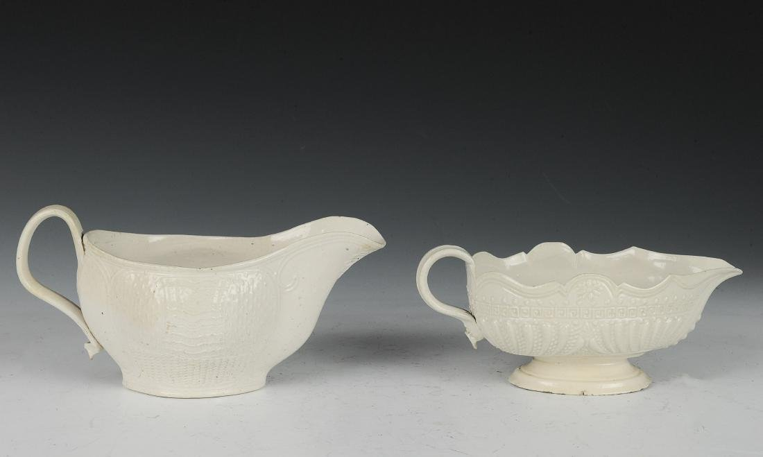 Two English Salt Glaze Sauce Boats,18th Century