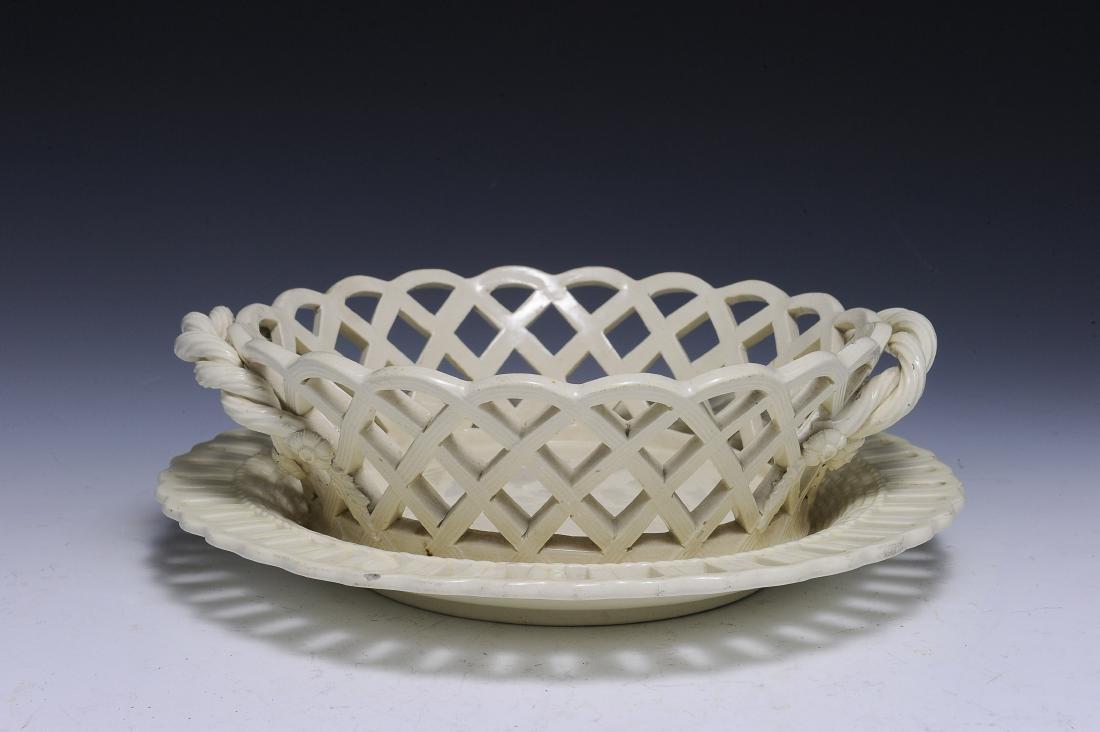 18th Century English Creamware Reticulated Basket