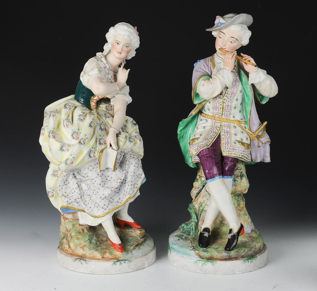 Pair of Large Chantilly Bisque Figures