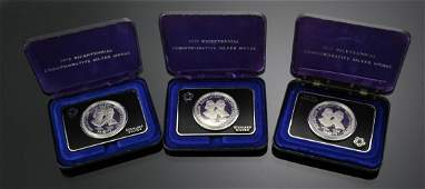 Three 1973 US Bicentennial Sterling Silver Medal