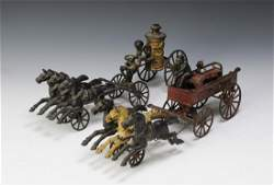 Two Hubley Horse Drawn Cast Iron Fire Wagons