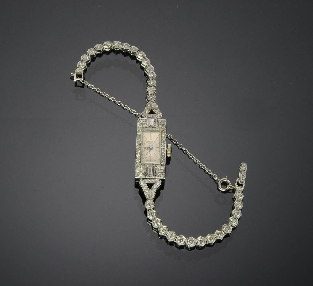 Art Deco Diamond & Platinum Ladies Wristwatch