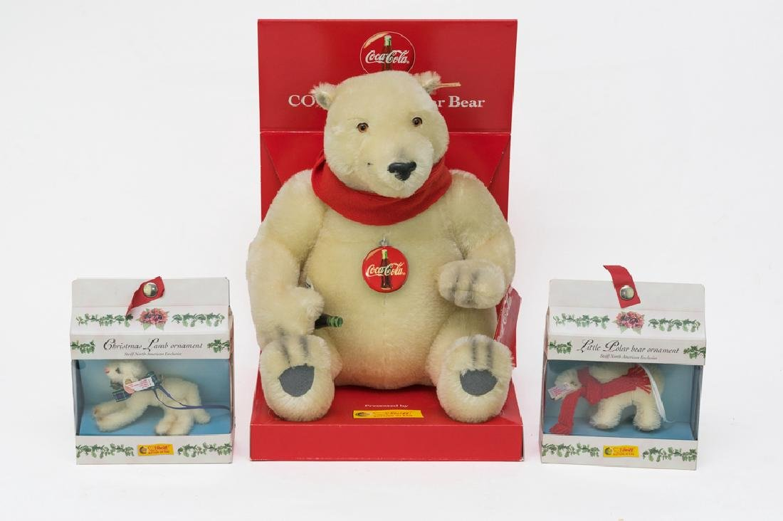 Boxed Steiff Animals, Coca-Cola Bear & Ornaments