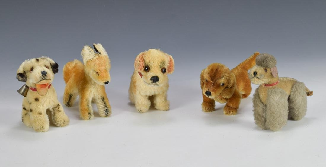 Group of 5 Steiff Canines