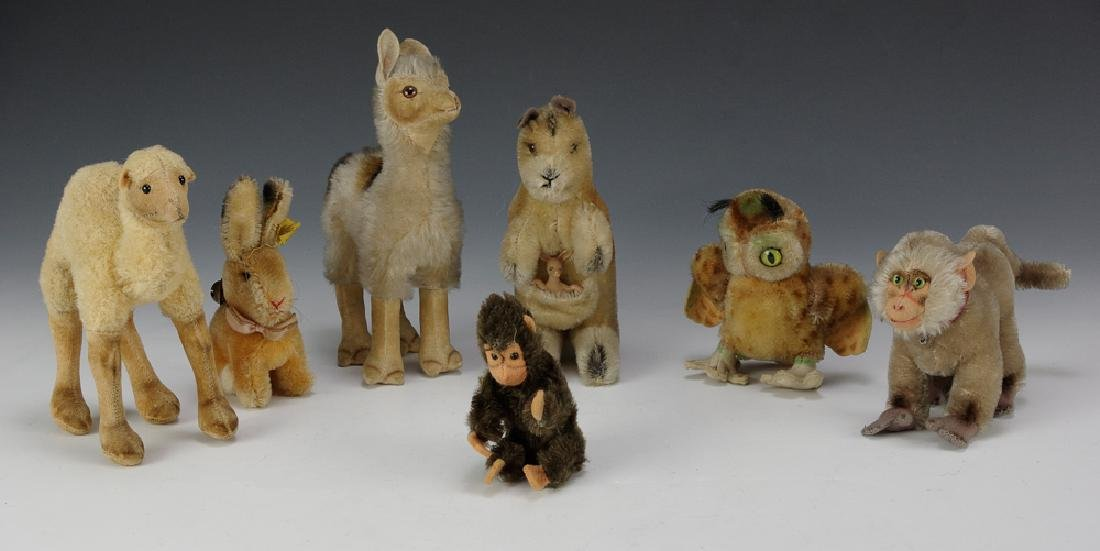 Group of 7 Small Steiff Animals