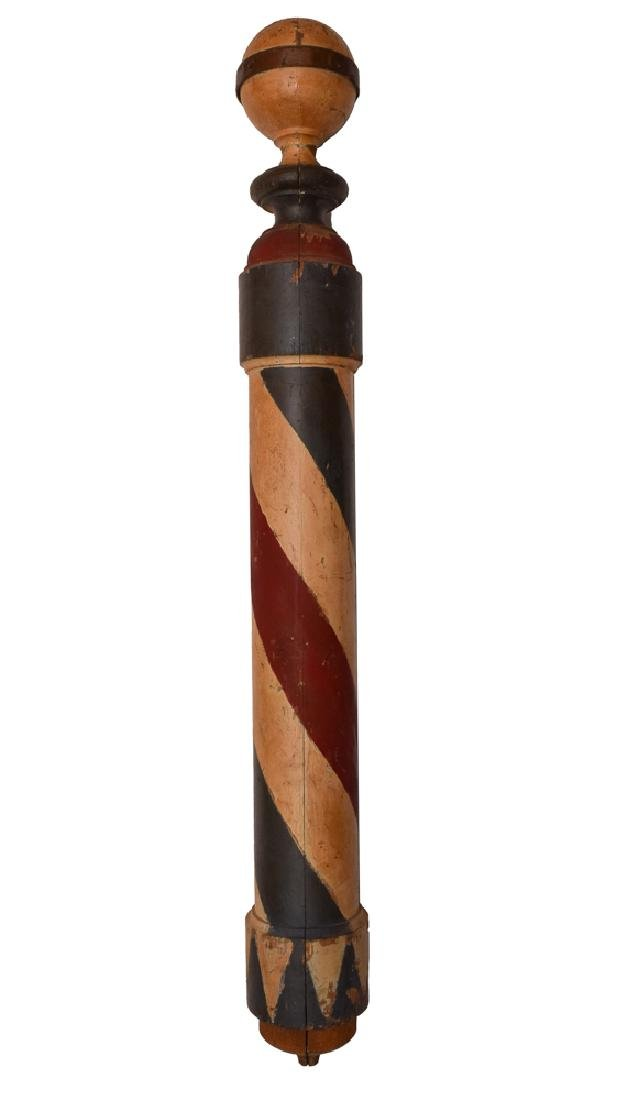 Wood Barber Pole, Late 19th - Early 20th Century