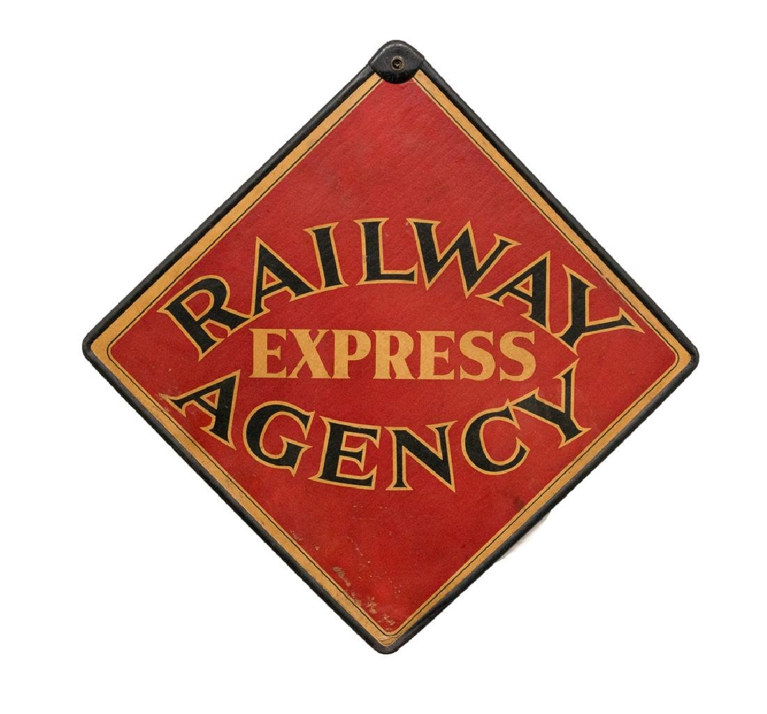 Two-Sided Railway Express Agency Hanging Sign