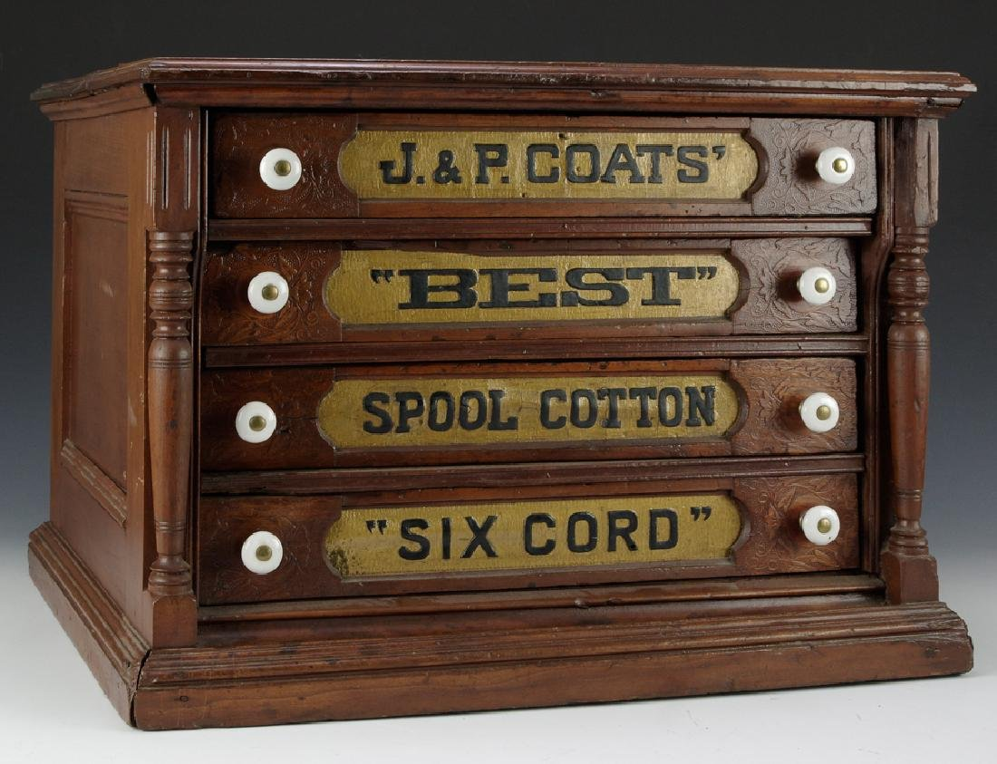 J&P Coats Mahogany Thread Cabinet