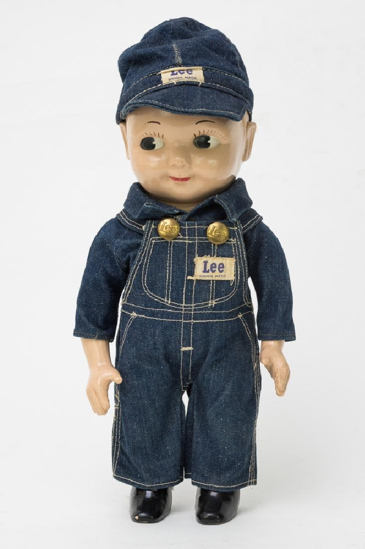 Plastic Buddy Lee Doll w/ Overalls and Hat