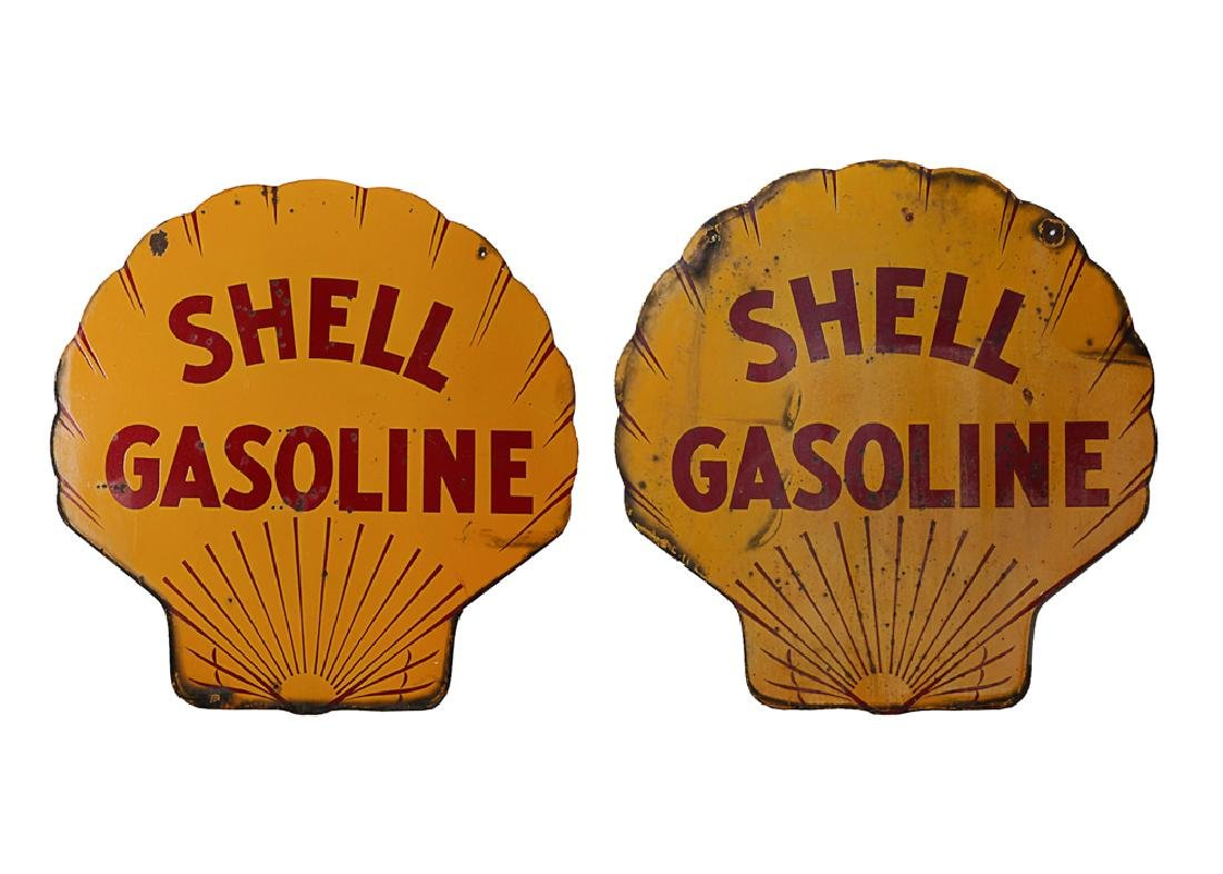 Double-Sided Shell Gasoline Porcelain Sign
