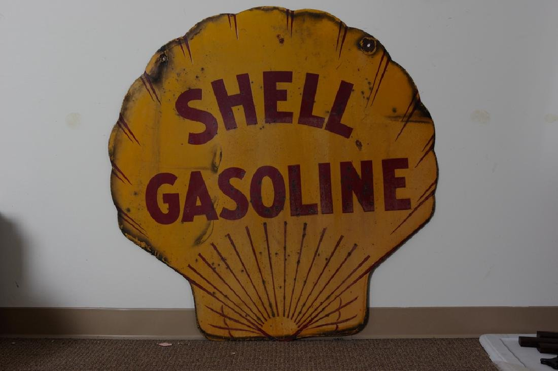 Double-Sided Shell Gasoline Porcelain Sign - 2
