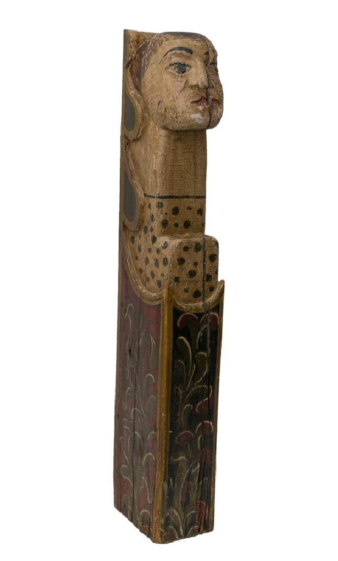 Carved Wood Polychrome Figure of a Woman