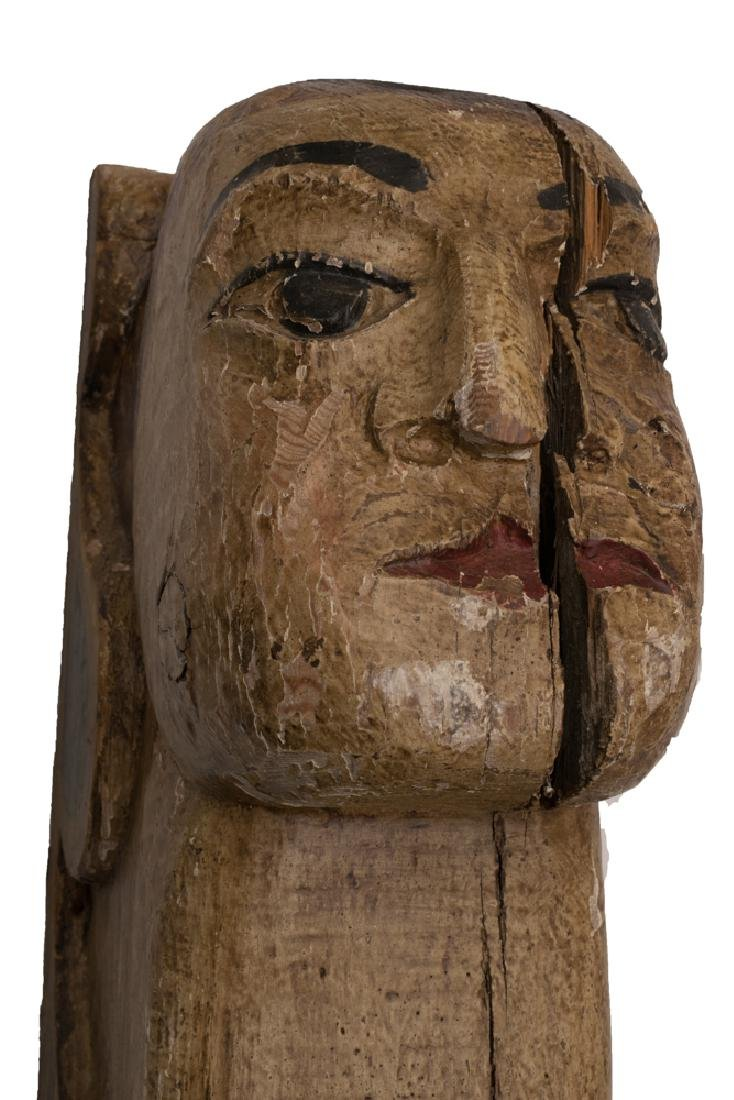 Carved Wood Polychrome Figure of a Woman - 2