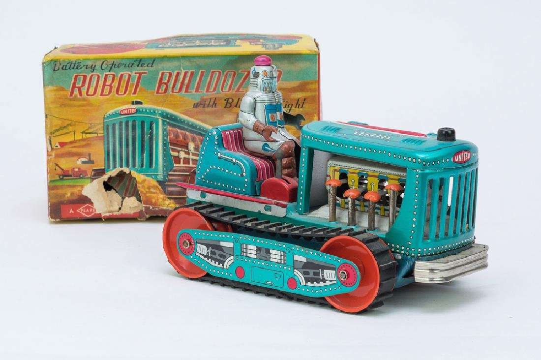 Boxed Battery Operated Tin Robot Bulldozer