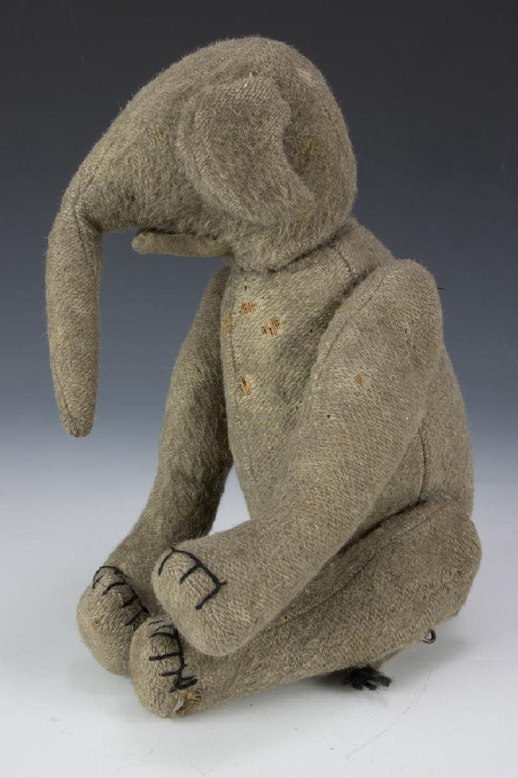 Rare Early Burlap Jointed Elephant Circa 1910 - 4