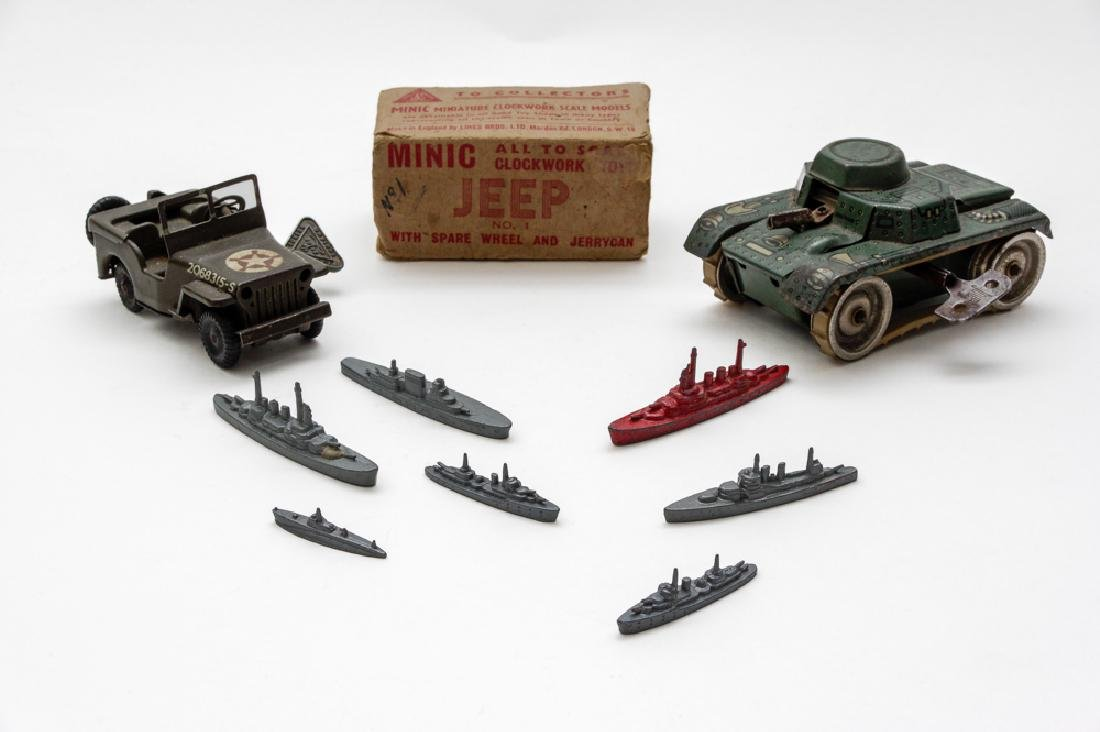 Two British Military Windup Tin Toys with Ships