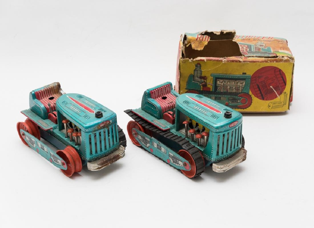 Set of 2 Battery Operated Robot Bulldozers, Japan