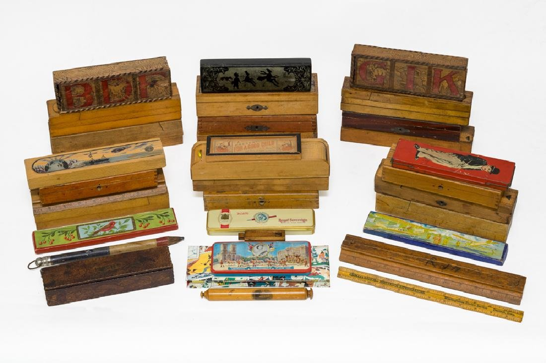 Large Lot of Antique Pencil Boxes