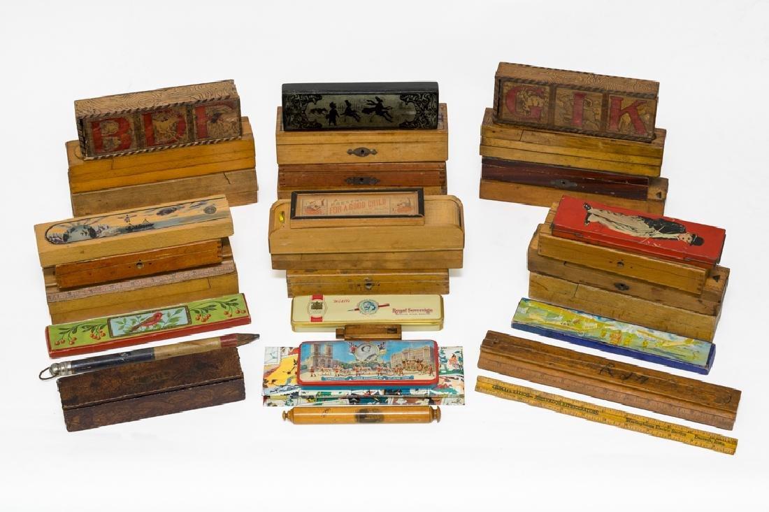 Large Lot of Antique Pencil Boxes