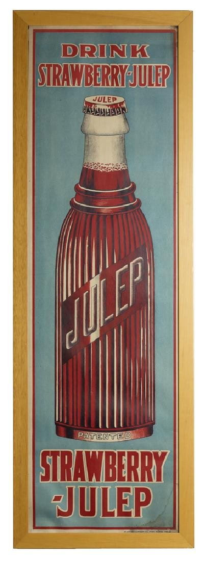 Framed NOS Cardboard Strawberry-Julep Soda Sign