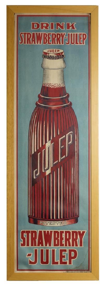 Framed NOS Cardboard Strawberry-Julep Soda Sign