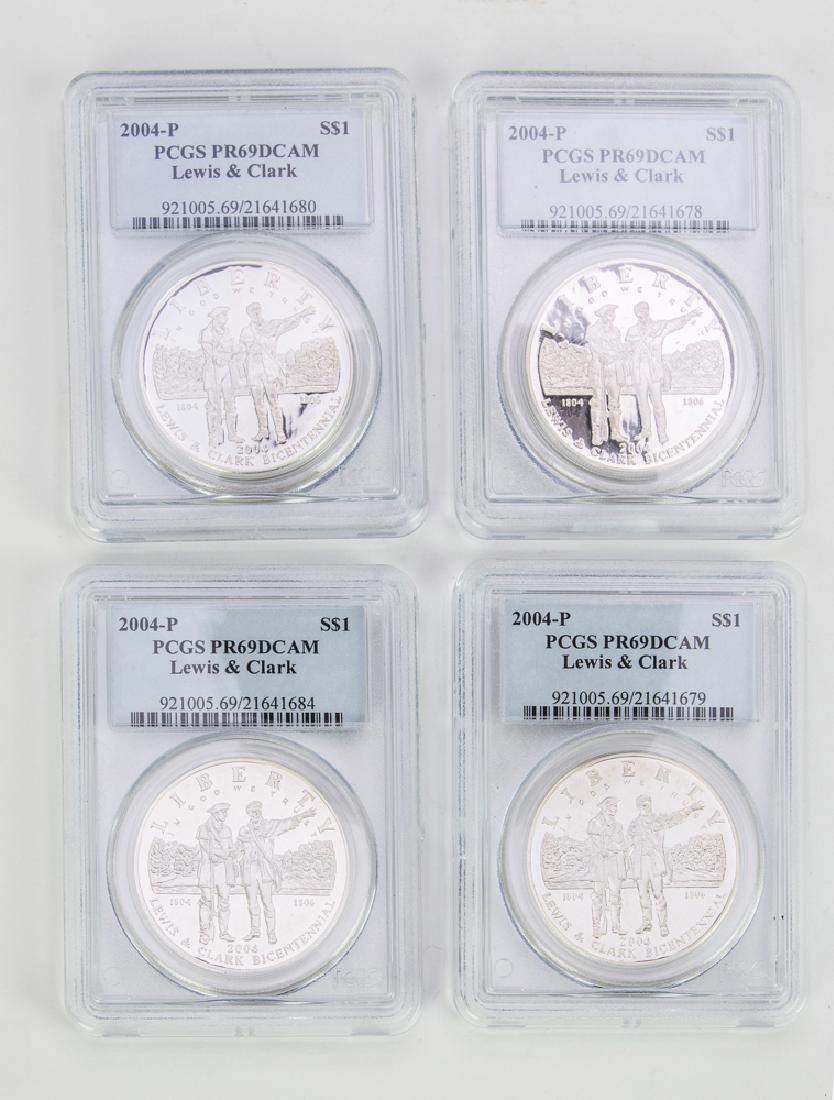 Four PCGS PR69 DCAM Lewis & Clark One-Dollar Coins