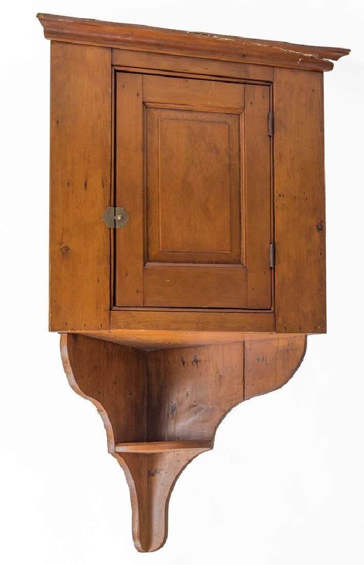 19th Century Pine Hanging Corner Cupboard