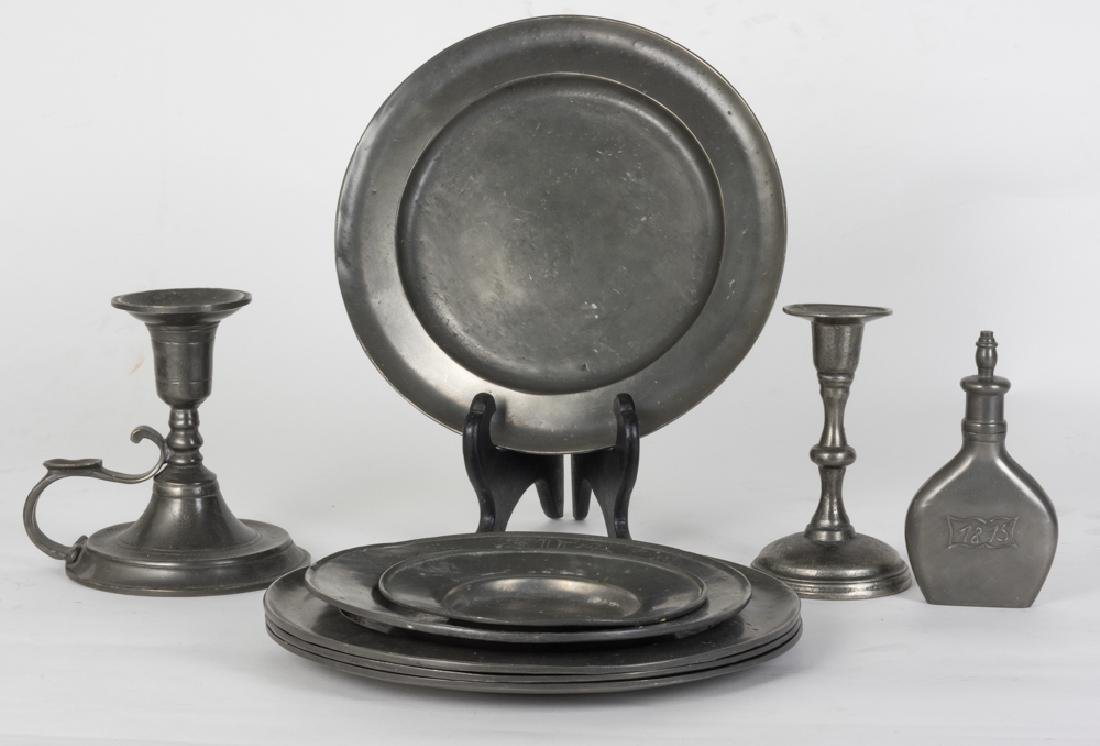"""Nine Pieces of """"Old-World Pewter"""" Items"""