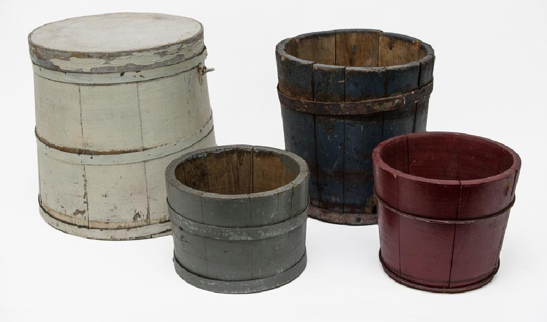 Four Wooden Buckets