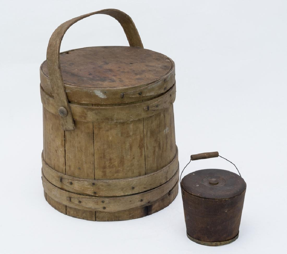 Covered Wood Bucket with Lapped Banding, plus