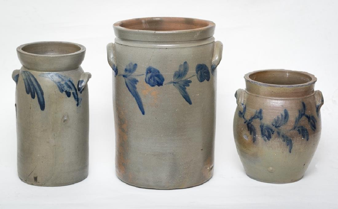 Three Cobalt-Decorated Salt Glaze Crocks