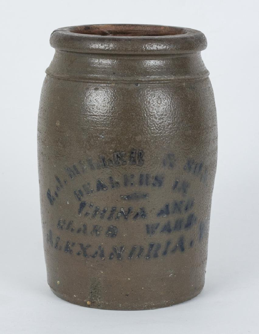 E.J. Miller & Son Stoneware Crock, Alexandria VA