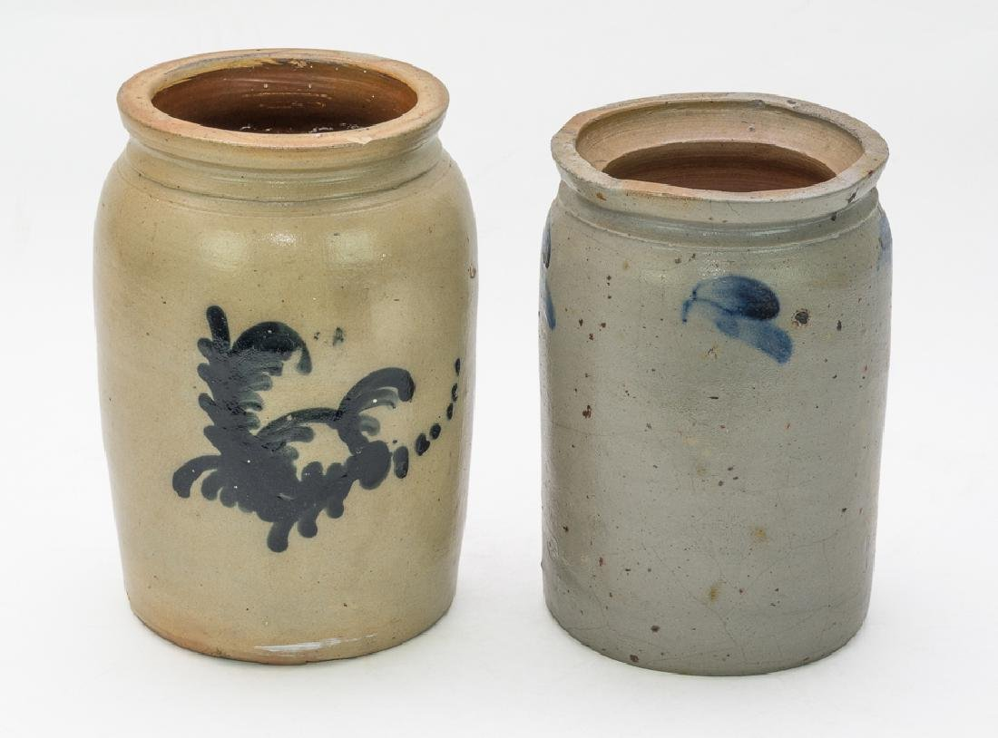 Pair of Cobalt-Decorated Salt Glaze Crocks