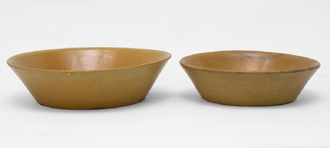 Pair of Shallow Yellow Ware Mixing Bowls, 19th C