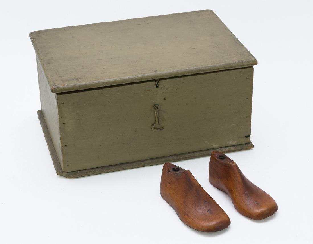 Small Wooden Document Box & 2 Shoe Lasts