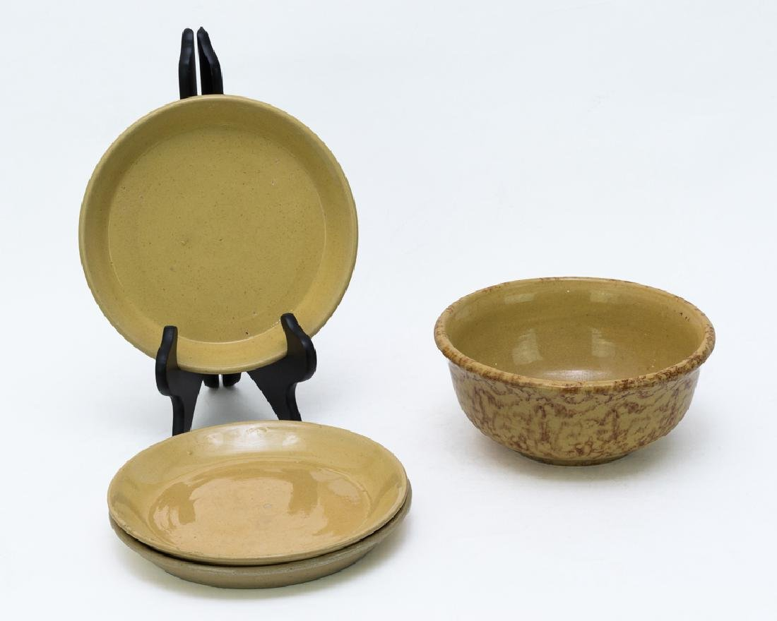 3 Yellow Ware Plates and a Mottled Mixing Bowl
