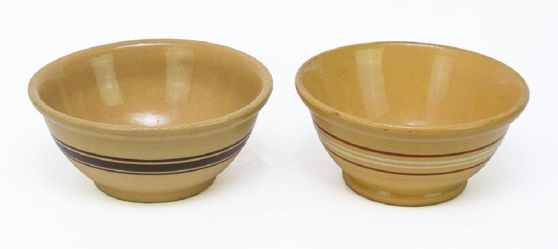 Pair of Antique Yellow Ware Mixing Bowls